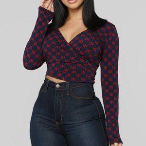 Fashion Nova Navy & Red Cropped Long Sleeve Blouse